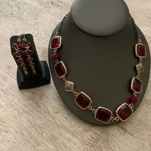 Red Statement Necklace & Earrings